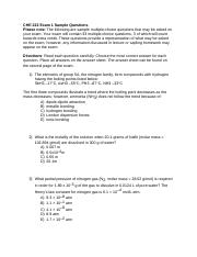 CHE 222 Exam 1 Sample Questions