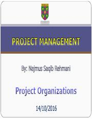 LECTURE 3 Project Organizations