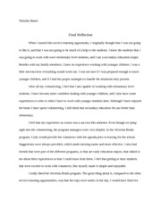 4th Credit Final Reflection Paper