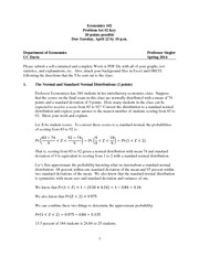 Economics 102 Problem Set 2 Key S2014-1