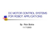 DC Motor Control Systems for Robots Applications