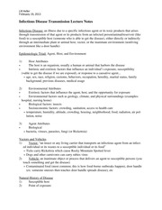 Infectious Disease Transmission Lecture Notes
