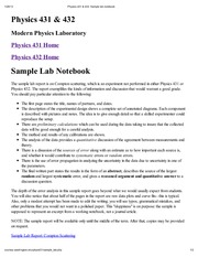 Physics 431 & 432_ Sample lab notebook