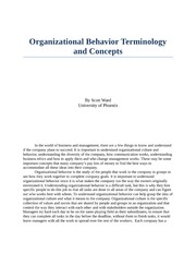organizational terminology and concepts essay Organizational behavior: terminology and concepts organizations today often encourage change to better the work environment.