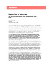 Mysteries of Memory