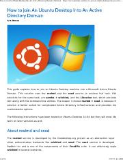How to Join An Ubuntu Desktop Into An Active Directory