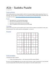 A1b - Sudoku Puzzle - Assignment.docx