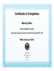 Security Guard Course and Final Exam Bill 159