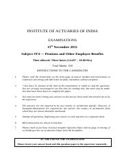 (www.entrance-exam.net)-Institute of Actuaries Of India-Subject ST4- Pensions & Other Employee Benef