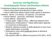 Summary slide - planes, directions  defects