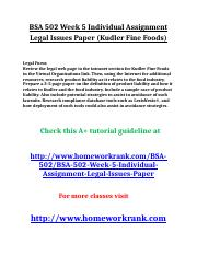 BSA 502 Week 5 Individual Assignment Legal Issues Paper (Kudler Fine Foods).doc