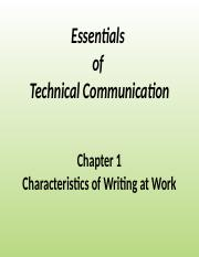 The Essentials of Technical Communication Chapter One
