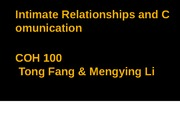 Intimate Relationships and Comunication