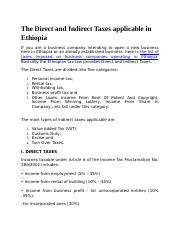 The Direct and Indirect Taxes applicable in Ethiopia.docx