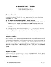 RISK MANAGEMENT SAMPLE EXAM QUESTIONS 2014