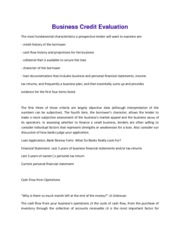 Business Credit Evaluation (Assignment)