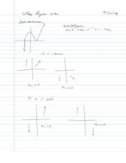 College Algebra Notes - 2.5 - End Behavior of Graphs
