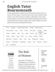The Role of Women _ English Tutor Bournemouth