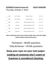 ECON252 Interim Exam #1 10-03-2013 - BLUE (KEY)