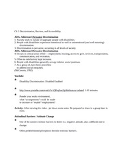 Chapter 5 (Class Notes) Discrimination, Barriers, and Accessibility