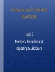Topic 8 Members' Remedies and Reporting & Disclosure.ppt