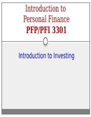 Class 17 - Intro to Investing (Handout)(Spring)(2017)(SS)