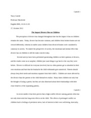 English 0800 The Impact Divorce Has on Children Essay