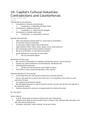 10 - Capital's Cultural Industries- Contradictions and Counterforces