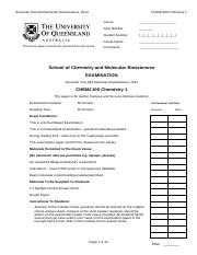 CHEM1100 2014 Semester 1 MSE Exam Paper