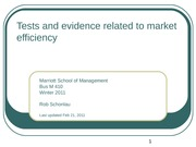 11-Tests and evidence related to market efficiency