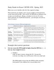 Study Guide for Exam 1 ECON 4350.docx