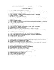 SUNO BIOL 105 Study Guide for Exam 1 Fall 2013-1