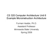 CS 320 Unit 6 Example Microarchitecture