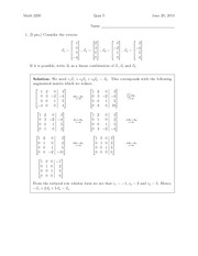 Quiz 5 Solution on Differential Equations and Linear Algebra