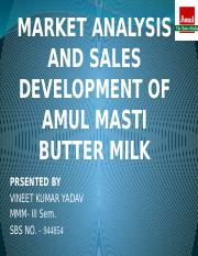 Market analysis and sales development of Amul masti butter milk
