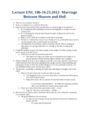 Lecture ENL 10B Marriage between Heaven and Hell