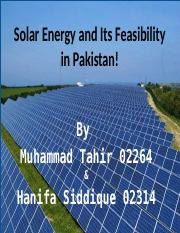 Solar Energy and Its Feasibility in Pakistan!