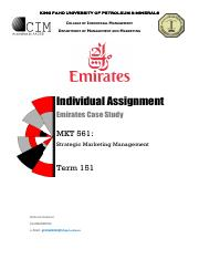 MKT 561 - Emirates Case (Individual ssignment )