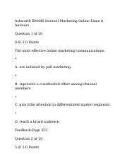 Ashworth BM440 Internet Marketing Online Exam 6 Answers.docx
