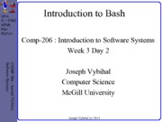 COMP 206 Lecture Week 3 Day 2 - Intro Bash