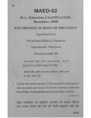 (www.entrance-exam.net)-VMOU M.A. in Education Psychological Basis of Education (MAED-02) Sample Pap
