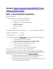 Religion 1000_ Quiz 1 Study Questions