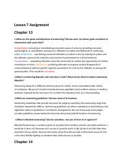Lesson 7 Assignment.docx - Lesson 7 Assignment Chapter 13 ...