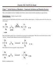 Chem 140A Lecture Notes  Fall 2016 Chapter 7 Further Reactions of Haloalkanes – Unimolecular Substit