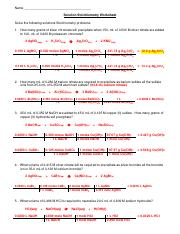 Solution Stoichiometry 2 - Name Solution Stoichiometry Worksheet ...