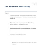 Unit 3 Exercise 2 Guided Reading