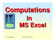 Lesson 3 - Computations in Excel