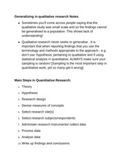 Generalizing in qualitative research Notes
