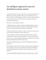 An intelligent approach to prevent distributed systems attacks