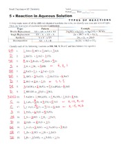 Printables Reactions In Aqueous Solutions Worksheet redox solutions 1 pages reaction type